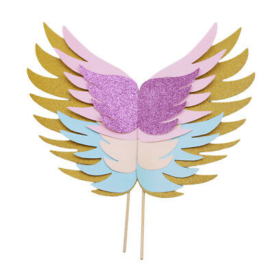Unicorn Cake Topper Sparkly Wings Unicorn Theme Party Supplies for  Birthday B