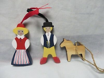 Vintage Swedish Dala Wood Horse,man,woman,hanging.hand Crafted,norway,christmas