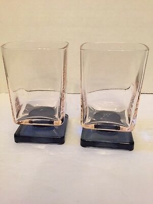 set of 2 SQUARE GLASSES CRYSTAL D'ARQUES VINTAGE FOOTED PINK AND BLUE
