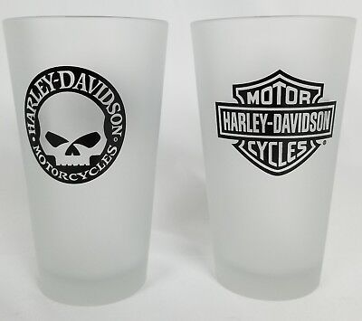 Harley Davidson Drinking Frosted Glasses NEW Set Of 2
