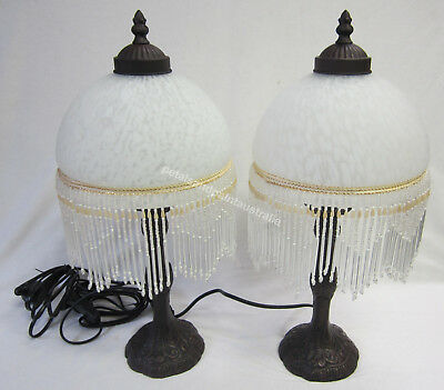 2 White Glass Lamps Ornate Beaded & Fringed Table or Bedside Lamp & Brown Base