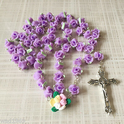 Mothers Day Catholic ROSARY-PURPLE Rose Flower soft Ceramic bead with a Crucifix