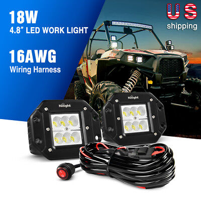 2 x Nilight 18W Flush Mount Flood LED Fog Lights,Wiring Harness Off-Road Tractor