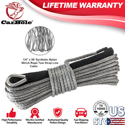 "1/4"" x 50' 7700LBs Synthetic Winch Line Cable Rope with Sheath For SUV JEEP ATV"