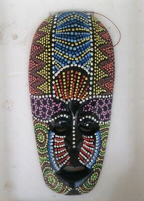Hand Carved AFRICAN Mask Paint ART WOOD THAI HANDMADE WALL DECOR SOUVENIR #A9