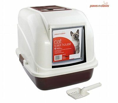 NEW Durable Paws N Claws Hooded Pet Cat Litter Tray with 2 Way Door Flap & Scoop
