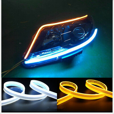 2-Colors White Amber LED Light Strip For DRL Signals Side Marker Light Headlight
