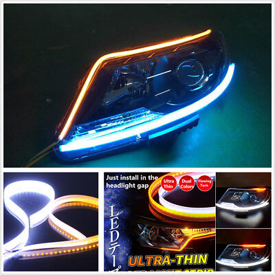 "2-Colors 60cm 24"" Ultrathin White Amber Flowing Turn Signal LED Light Strip DRL"