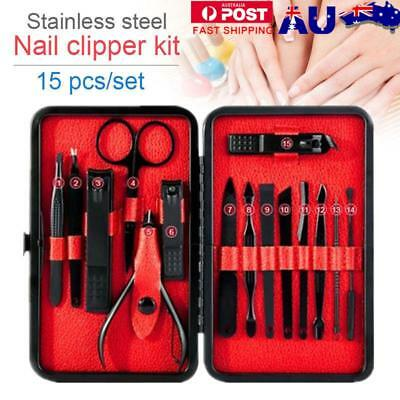 15PCS/Set Stainless Steel Manicure Nail Kit Pedicure Grooming Clippers Tools AU