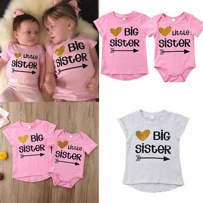 Family Matching Clothes Big Sister T-shirt Little Sister Romper Outfits New