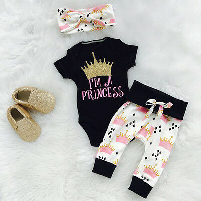 Princess Toddler Kids Baby Girl Crown Print Top Romper+Pants Outfits Set Clothes