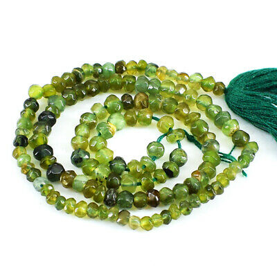 63.50 Cts / 13 Inches Earth Mined Drilled Green Garnet Faceted Beads Strand