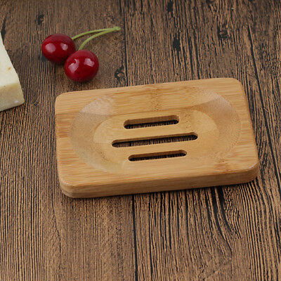Portable Natural Bamboo Wooden Soap Tray Holder Dish Box Case Container B