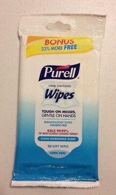 New Purell Hand Sanitizing Wipes 20 Soft Wipes Gently Cleans Hands & Faces Sale