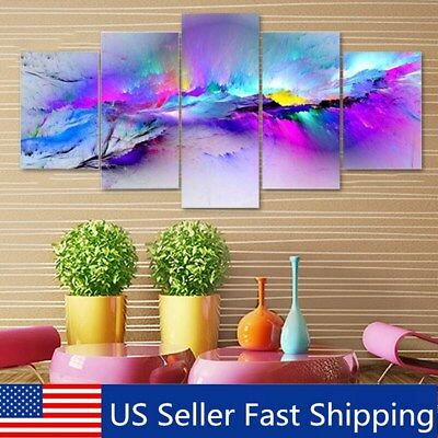 5Pcs Framed Purple Light Canvas Print Painting Picture Abstract Home Wall Decor