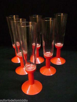 Service of six glasses glass and abs 70's -second vintage series