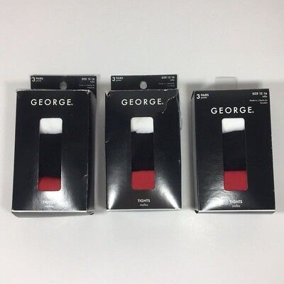 Lot, 9 Pairs George Girl's Tights 12-16  School Uniform White Black Red