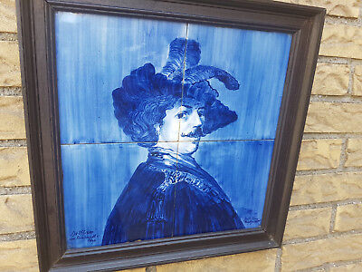 "Rembrandt van Rijn ""De Officier"" Panel Ceramic tiles Delfts Blue"