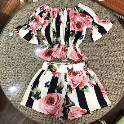 AU 2PCS Toddler Kids Girls Stripe Floral Tunic Tops Shorts Outfits Set Clothes