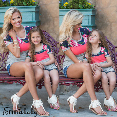 AU Mother and Daughter Clothes Floral Short Sleeve Top Family Matching Baby Girl