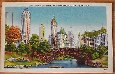 Postcard w / stamp Central Park at 59th st. New York D49