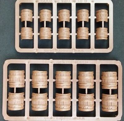 10 x Plastic woodern wood Barrels D&D DnD Dungeons & Dragons Pathfinder RPG 28mm