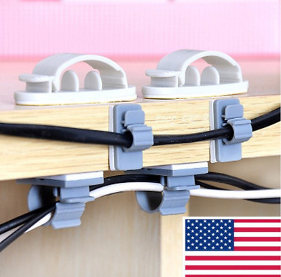 10/15X Cable Clips Self-Adhesive Cord Management Wire Holder Organizer Clamp Hot