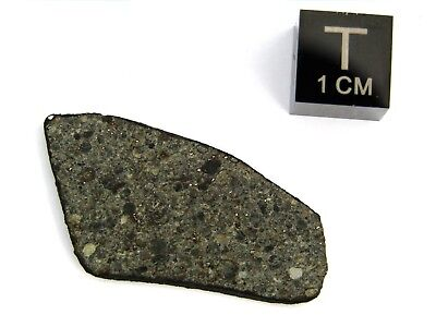 Meteorite stone ordinary chondrite slice with fresh fusion crust - 2.7 grams