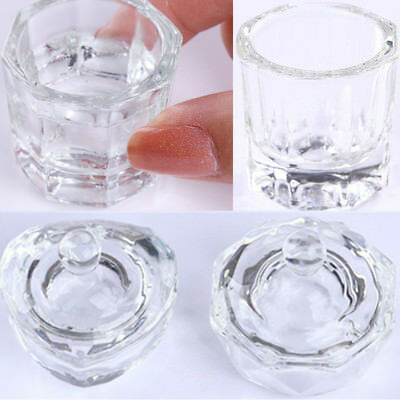 Clear Nail Art Acrylic Crystal Glass Dappen Dish Cup Liquid Powder Container