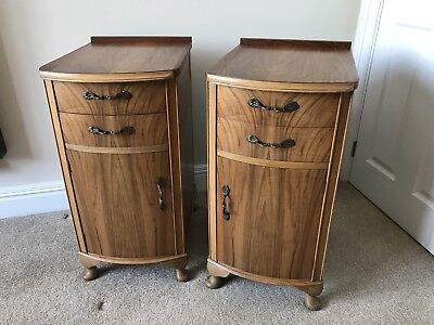 Vintage Antique pair of  Walnut bedside cabinets drawers