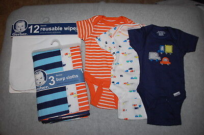 BABY BOYS LOT Wipes & Burp Cloths, Bodysuits ORANGE NAVY BLUE Cars Truck PREEMIE