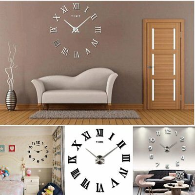 Modern DIY 3D Wall Mounted Clock Extra Large Roman Numeral Clock Mirrors Surface