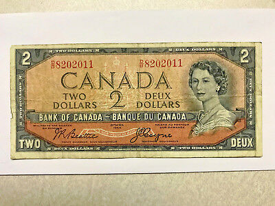 1954 Canada 2 Dollar Devil Hair Note VG+ #15127