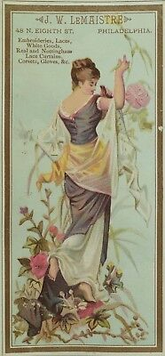 1880's J. W. LeMaistre Lovely Lady Victorian Trade Card &S