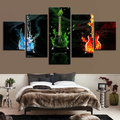 Abstract Music Guitars Painting 5 Panel Canvas Print Wall Art Poster