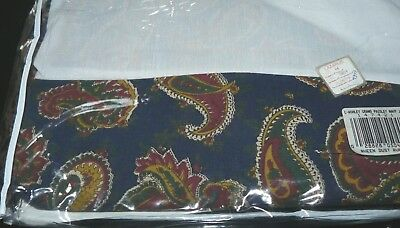Laura Ashley No Iron Percale Bed Skirt Grand Paisley in Navy Queen Size NEW