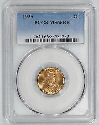 1935 Lincoln Wheat Cent Penny 1C Pcgs Certified Ms 66 Mint State Rb Gem Obv (232