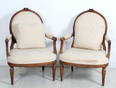 PAIR of Antique French Carved Wood Chair Armchairs Lot 505