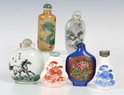 LOT of 6 Old Chinese Porcelain Glass Snuff Bottle Lot 267