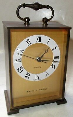 Matthew Norman Battery-Operated Brass Carriage Clock (Quartz, Swiss Made)
