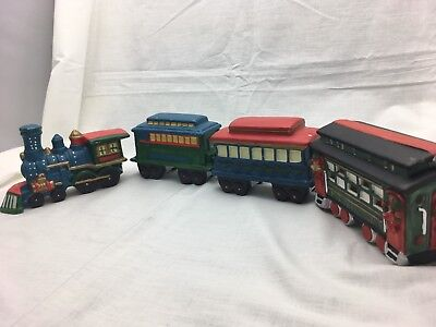 Ceramic Christmas Holiday Train Engine and Cars - 4 Cars Total