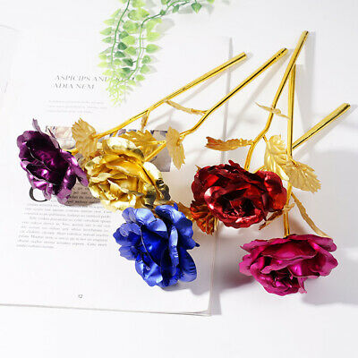 24K Gold Rose Flower Long Stem Golden Dipped Flower Valentine's Day Lovers!