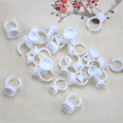 100Pcs Embroidered Ring Cup Eyelash Plastic Glue Tattoo Pigment Holders White: