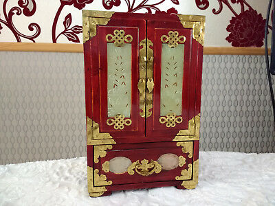 Vintage Chinese Carved Jade Rosewood Jewellery Box Cabinet Ornate Brass