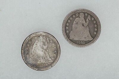 1841 & 1841 O Seated Liberty Dime 10C Avg Circ To Vf Very Fine 2 Coin Lot (6051)