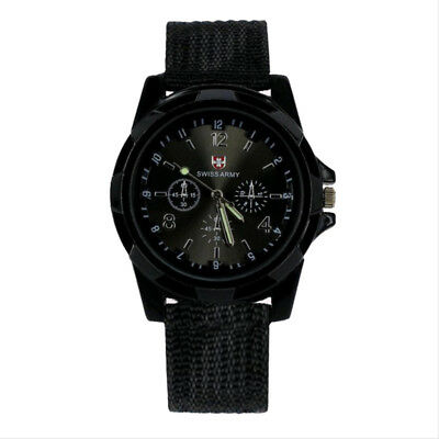 SWISS Men Boy Round Dial Nylon Strap Band Military Army Quartz Wrist Watch IE