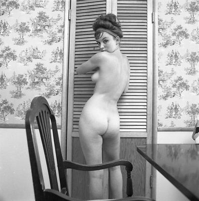 Z2 MICKEY JINES 1966 2 1/4 NEGATIVE FAMOUS PERKY FULL NUDE PINUP MODEL by VOGEL
