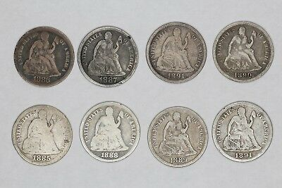 1885 - 1891 O Seated Liberty Dimes 10C Average Circulated 8 Coins (6060)