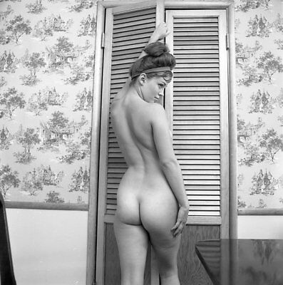 """Z-4 MICKEY JINES 1966 2 1/4"""" NEGATIVE REAR VIEW PERKY NUDE PINUP MODEL by VOGEL"""