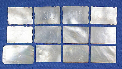 12 Antique Chinese Mother Of Pearl Rectangular Shaped Gaming Counters